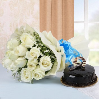 Truffle With White Roses
