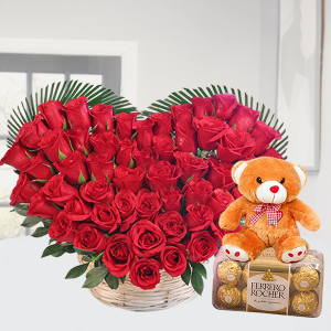 Basket of Roses with Nice Teddy and Ferrero Rocher
