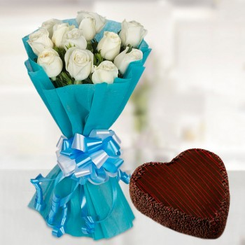 White with Blue Heart Cake
