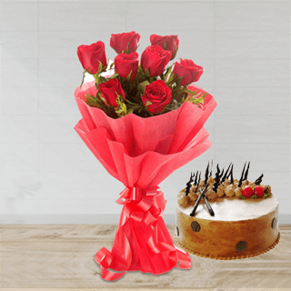 Butterscotch and Roses Bunch