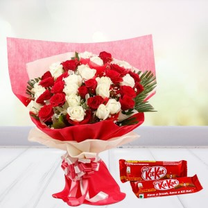 Love Roses Combo With Kitkat