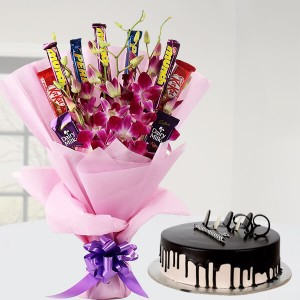 Chocolate Orchid Bouquet And Cake