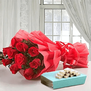 Elegance Beauty - Red Roses with Kaju Katli