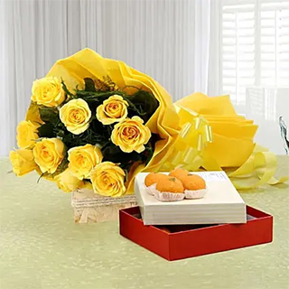 Elegance Beauty - Yellow Roses with Laddu