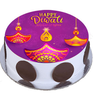 Diwali Diya Photo Cake