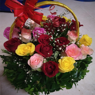 Mix Roses In Basket
