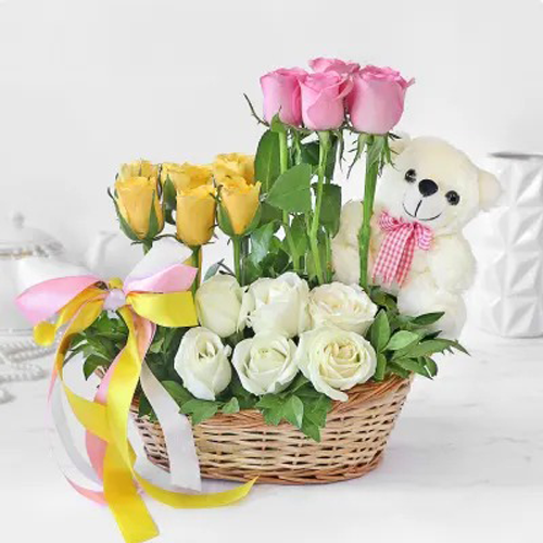 Mix Roses In Basket With Teddy